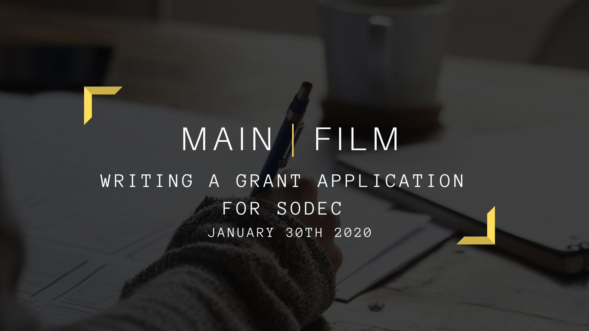 Writing a grant application for SODEC